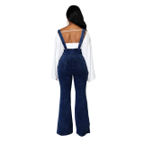 2020 summer color double shoulder strapdenim halter long loose denim jumpsuit