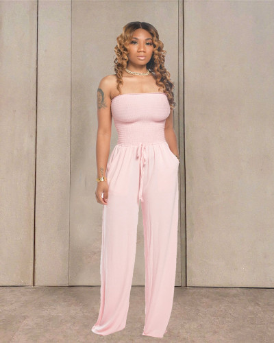 Pink Casual flat shoulder wrap chest wide leg jumpsuit