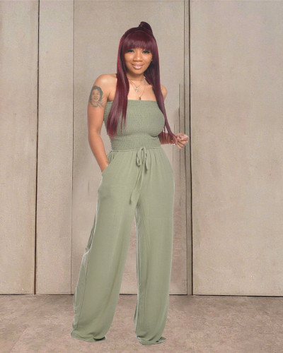 Green Casual flat shoulder wrap chest wide leg jumpsuit