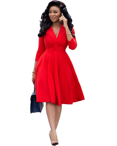 Red Sexy fashion solid color deep V pleated dress