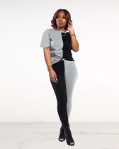 Black Sexy fashion color block stitching pants suit