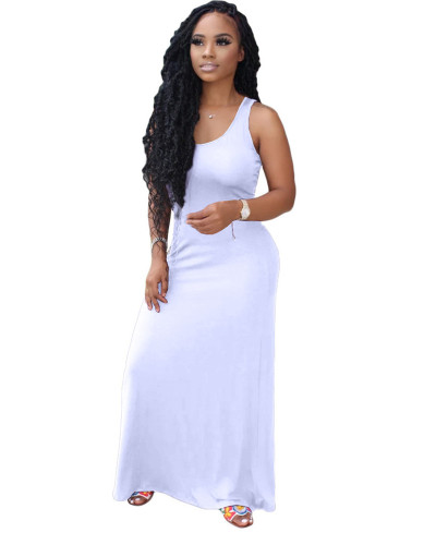 White sexy tube top fashion solid color swing dress