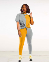Yellow Sexy fashion color block stitching pants suit