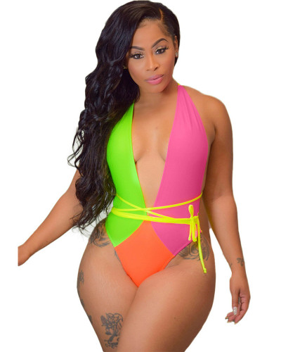 Summer sexy fashion contrast color stitching multicolor one-piece swimsuit