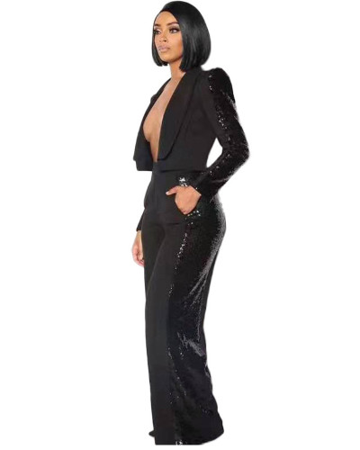 Sexy fashion sequins small suit handsome high shoulder wide leg pants suit