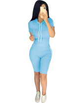 Blue Summer explosion solid color hoodie two-piece suit