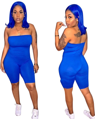 Blue 2020 spring and summer ladies tube top jumpsuit European and American slim sexy female cropped jumpsuit