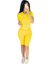 Yellow Summer explosion solid color hoodie two-piece suit