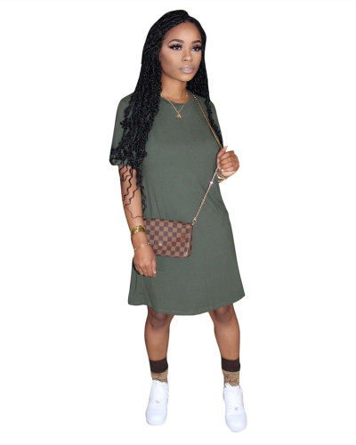 Green Solid color loose short sleeve cotton dress with double side pockets