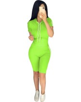 Green Summer explosion solid color hoodie two-piece suit