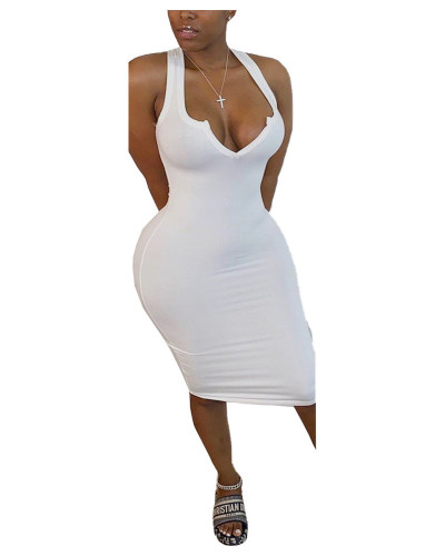 White solid color V-neck tight sexy bodycon dress