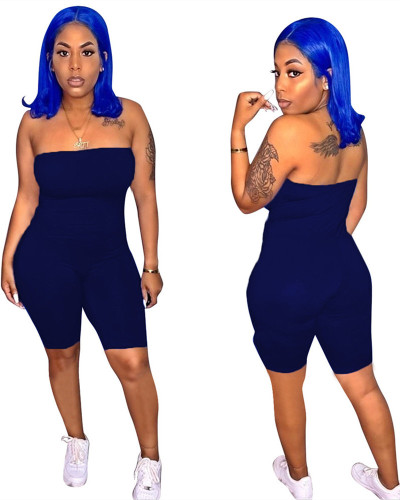 Deep Blue 2020 spring and summer ladies tube top jumpsuit European and American slim sexy female cropped jumpsuit