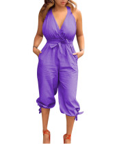 Purple Casual backless V-neck strappy jumpsuit