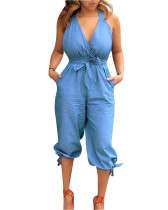 Blue Casual backless V-neck strappy jumpsuit