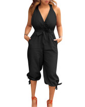 Black Casual backless V-neck strappy jumpsuit