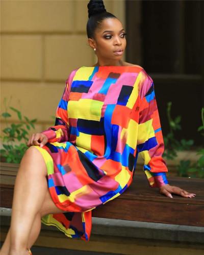 INS fashion irregular pattern digital printing large size dress