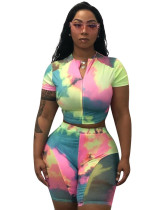 Tie-dye stitching casual women's two-piece suit