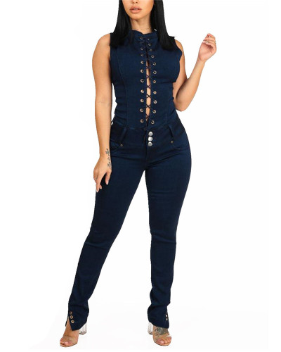 2020 INS fashion denim slim slim chest backless denim jumpsuit