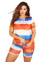 Orange 2020 INS net red favorite tie-dye round neck casual fashion home sports shorts two-piece suit