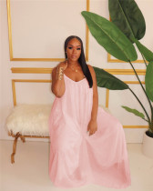 Pink Fashionable casual loose chiffon jumpsuit with pocket