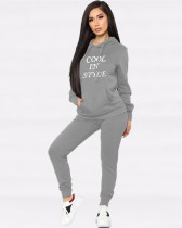 Gray Popular embroidered hooded sweater two piece set