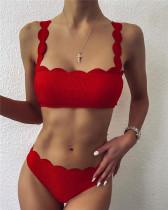 Red Cut flower split swimsuit sexy bikini
