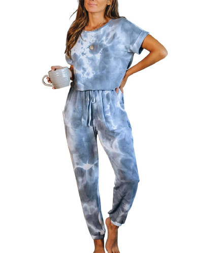 Blue Casual Loose Tie-Dye Jumpsuit