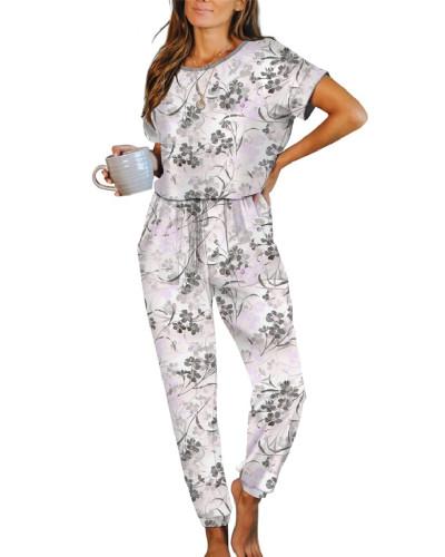 Gray Pink Casual Loose Tie-Dye Jumpsuit