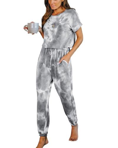 Gray Casual Loose Tie-Dye Jumpsuit