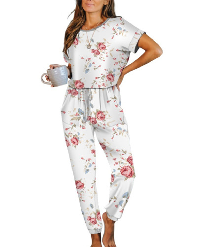 White Pink Casual Loose Tie-Dye Jumpsuit