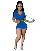 Blue Sexy leisure sports two-piece suit