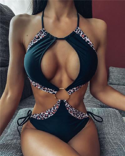 Black Senior Sexy Hollow Strap Solid Color Splicing One-Piece Bikini