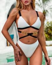 Fashionable Metallic Ring Stripe Advanced Fabric Bikini
