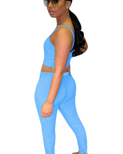 Blue Two-piece pleated smooth smooth silk