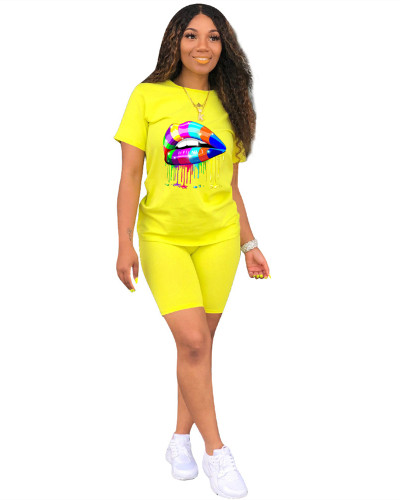 Yellow Two-piece sports and leisure set