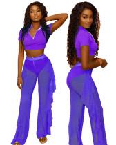 Purple Three-piece personalized casual ruffled mesh