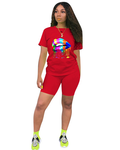 Red Two-piece sports and leisure set