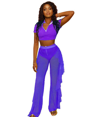 Purple Three-piece personalized casual ruffled mesh