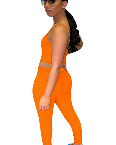 Orange Two-piece pleated smooth smooth silk