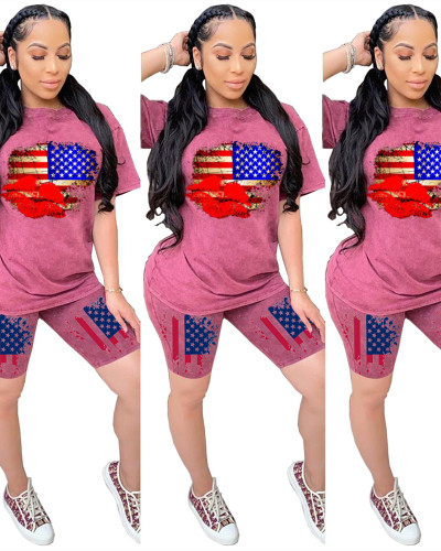 Red Independence day personality printed casual two-piece suit