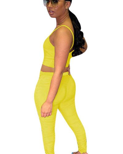 Yellow Two-piece pleated smooth smooth silk
