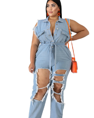 Long sleeve frosted washed denim jumpsuit
