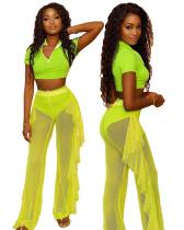 Yellow Three-piece personalized casual ruffled mesh