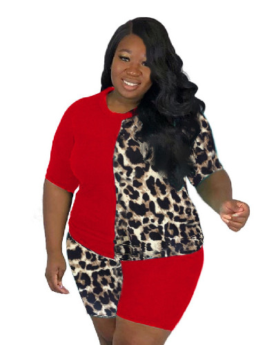 Red Leopard print solid color stitching sexy letter two-piece set