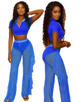 Blue Three-piece personalized casual ruffled mesh
