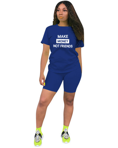 Blue Two-piece leisure sports English printing set