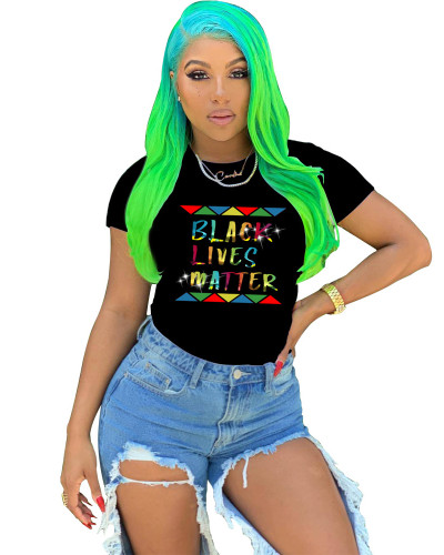 Black Sexy printed cute letter T-shirt