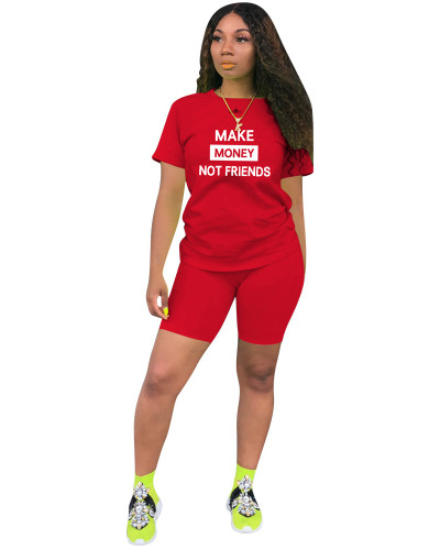 Red Two-piece leisure sports English printing set