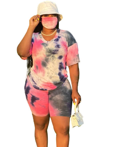 Red Plus Size XL-5XL Tie-dye V-neck fashion home sports shorts suit (including mask)