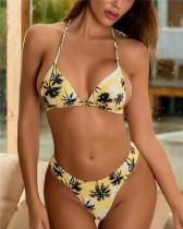 Yellow Leaf print bikini